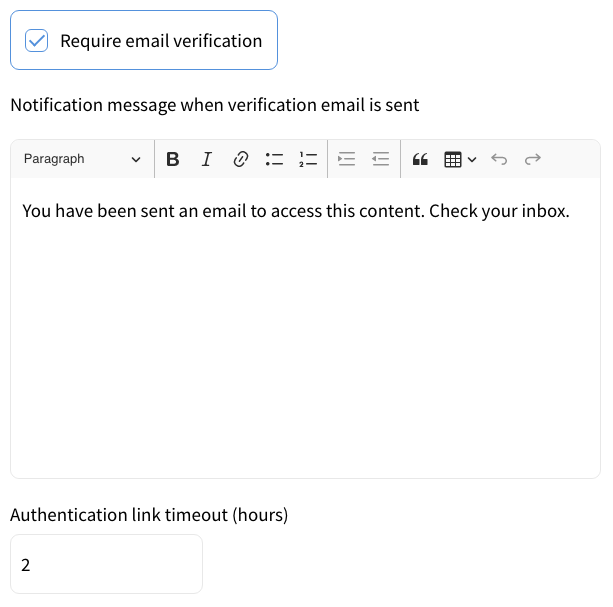 Email Verification Required - Setting Notification Message and Authentication Link Time Out