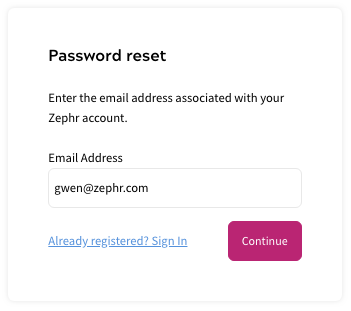 Depiction of the Admin User Password Reset Form