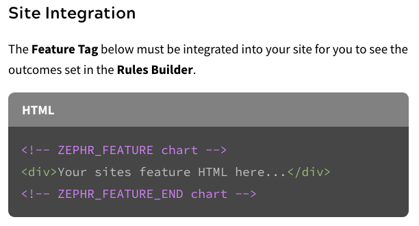 Zephr HTML Feature Tags
