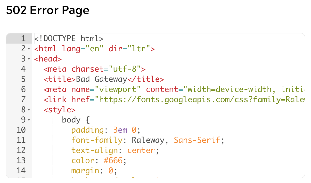 Screen showing html field for editing 502 error page.