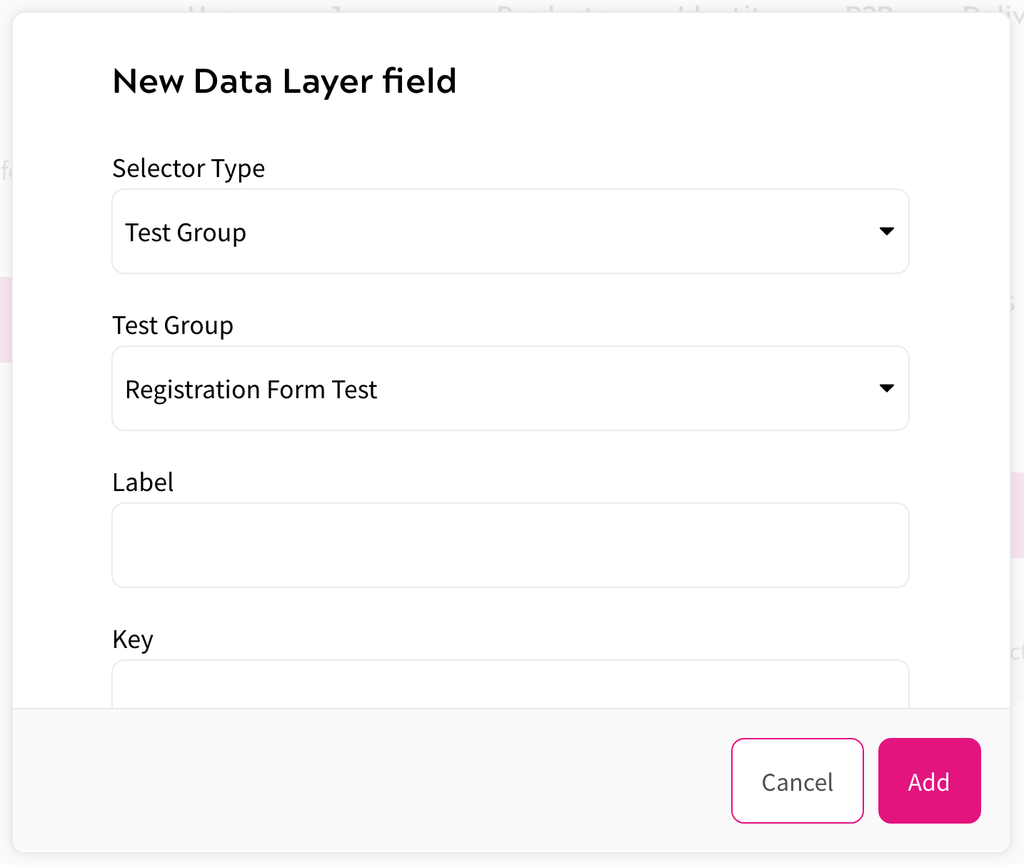 Adding Test Group Data to Data Layer