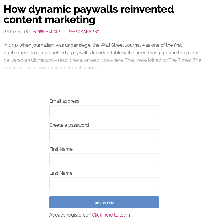 Shows an article displaying first 30 words before fading words to show registration form