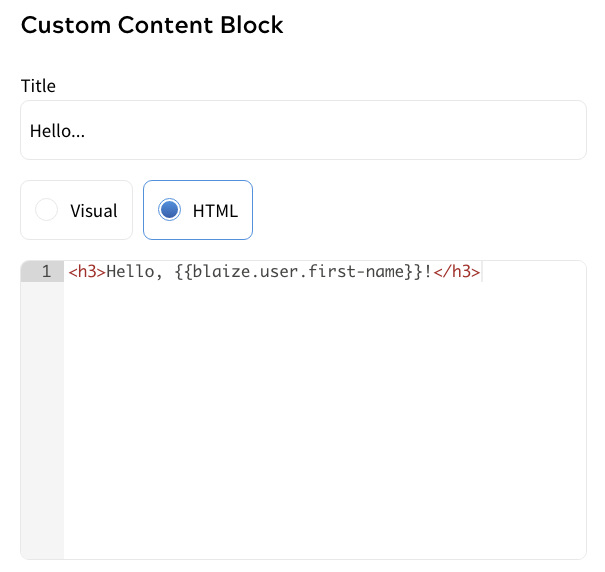 Example set up for adding template user variables into a custom component block