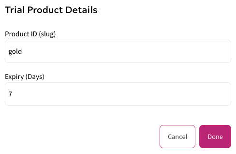 Trial Product - Example Set Up